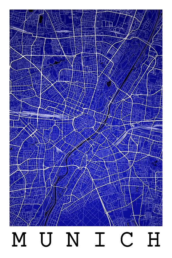 Munich Street Map Munich Germany Road Map Art On Colored Backg