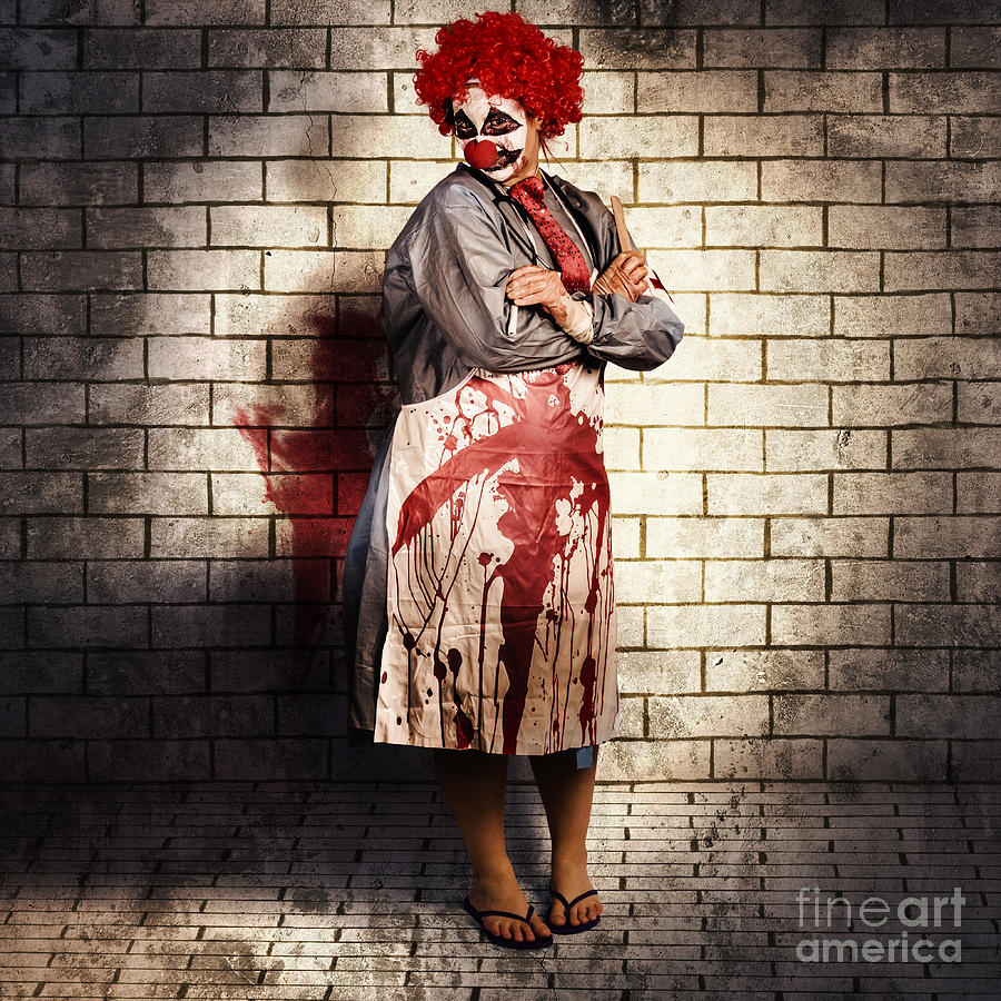 Clown Photograph - Murderous Monster Clown Standing In Full Length 1 by Jorgo Photography - Wall Art Gallery