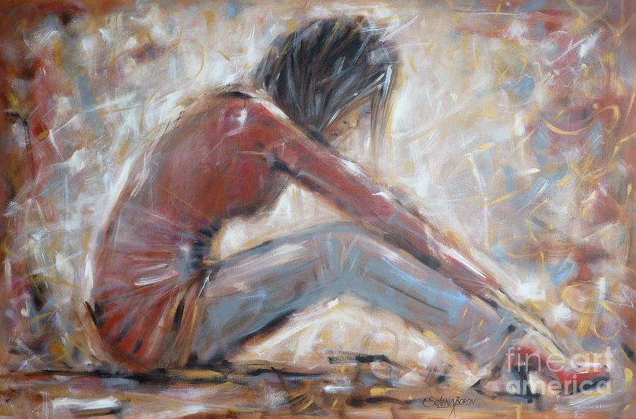 Woman Painting - My New Red Shoes 190809 by Selena Boron