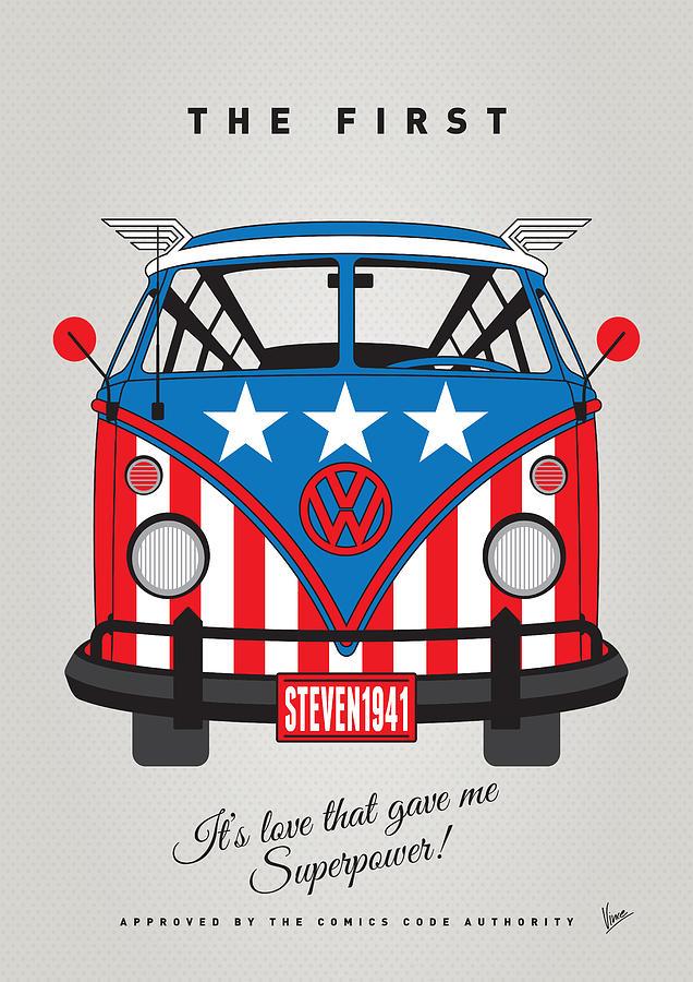 Superheroes Digital Art - My Superhero-vw-t1-captain America by Chungkong Art