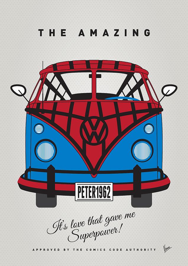 Superheroes Digital Art - MY SUPERHERO-VW-T1-spiderman by Chungkong Art