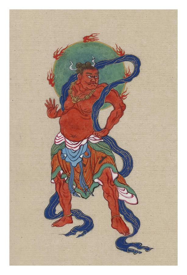 Myth Painting - Mythological Buddhist Or Hindu Figure Circa 1878 by Aged Pixel