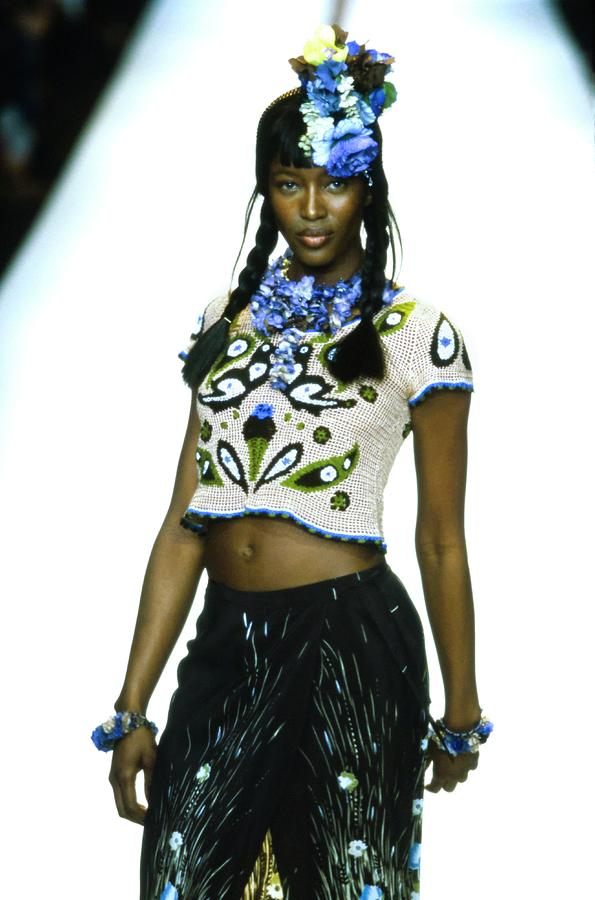 Naomi Campbell On A Runway For Anna Sui Photograph by Guy Marineau