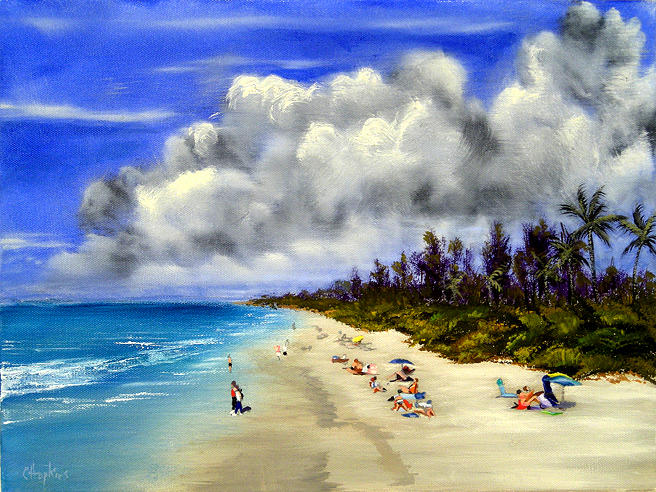 Naples Beach Naples Florida Painting by Christine Hopkins