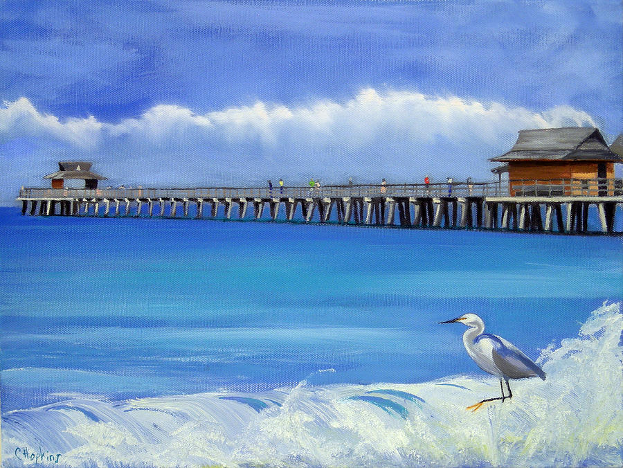 Naples Pier Naples Florida Painting by Christine Hopkins