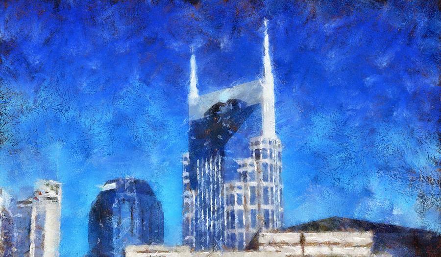 Nashville Skyline Painting - Nashville Skyline by Dan Sproul