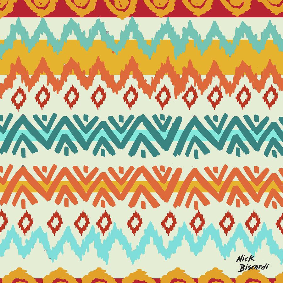 Navajo Digital Art - Navajo Mission Round by Nicholas Biscardi