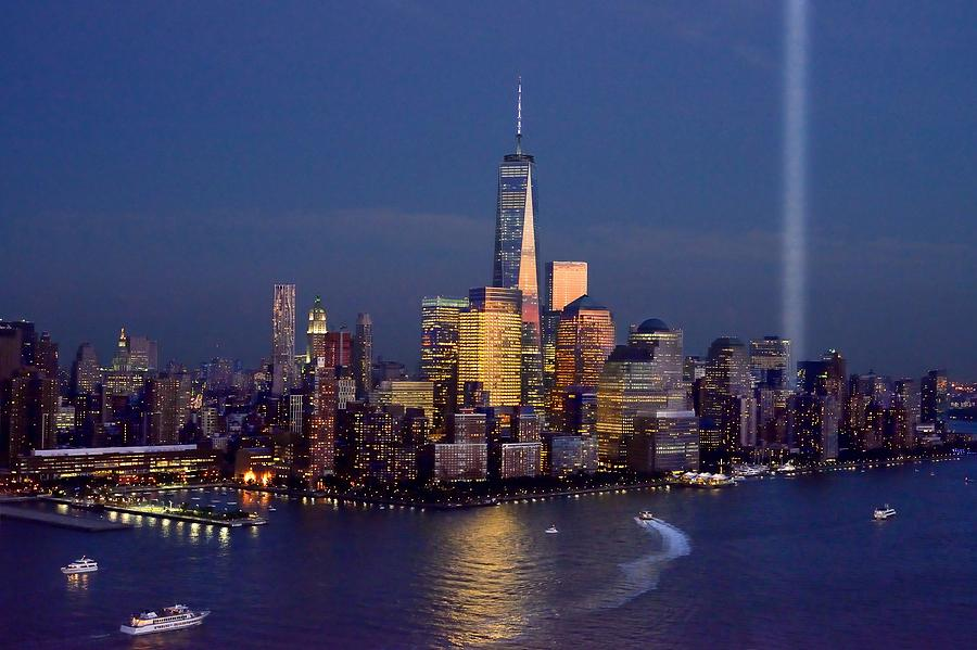 New York City Skyline Night Photograph   New York City Tribute In Lights  World Trade Center