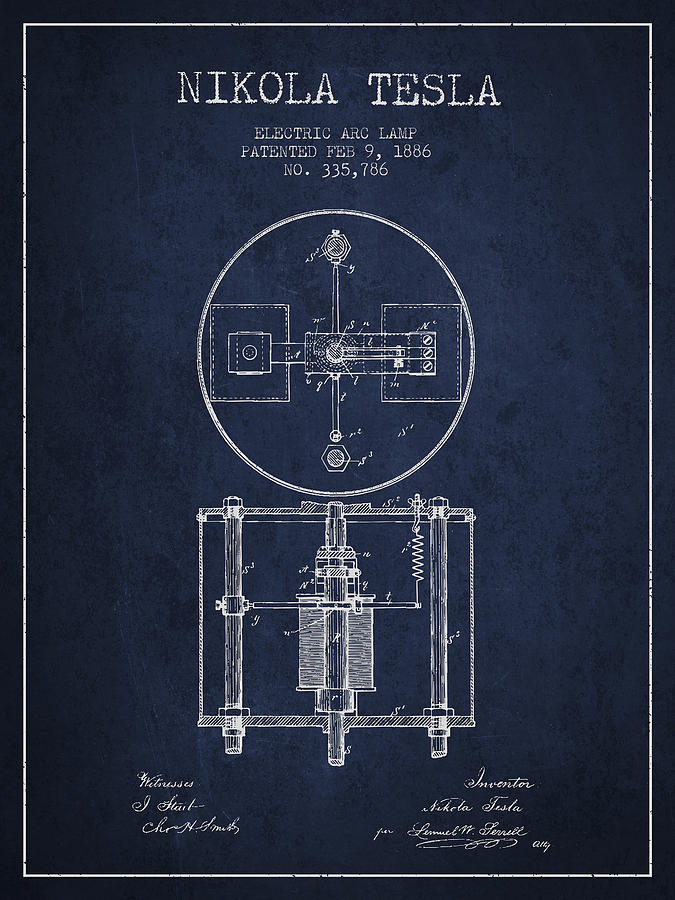 Nikola Tesla Patent Drawing From 1886 Navy Blue Digital