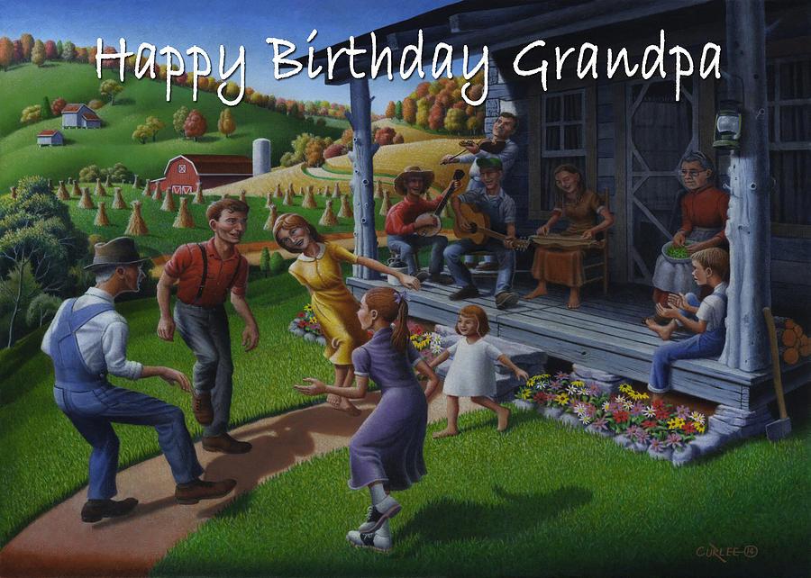 Happy Birthday Grandpa Painting - No 23 Happy Birthday Grandpa Greeting Card by Walt Curlee