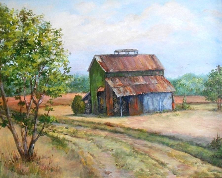 North Carolina Tobacco Barn Painting By Mary Jane Haley