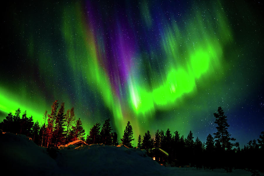 Horizontal Photograph - Northern Lights, Lapland, Sweden by Panoramic Images