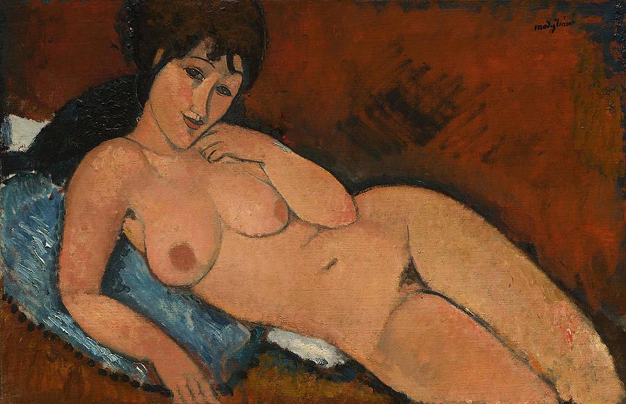 Amedeo Modigliani Painting - Nude On A Blue Cushion by Amedeo Modigliani