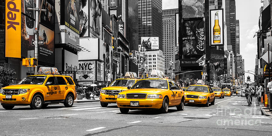 Nyc Photograph - Nyc Yellow Cabs - Ck by Hannes Cmarits