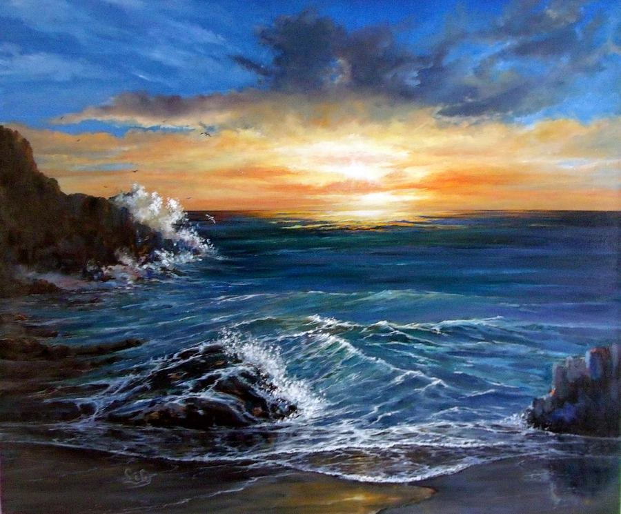 Ocean Painting - Ocean Sunset by Lily Adamczyk