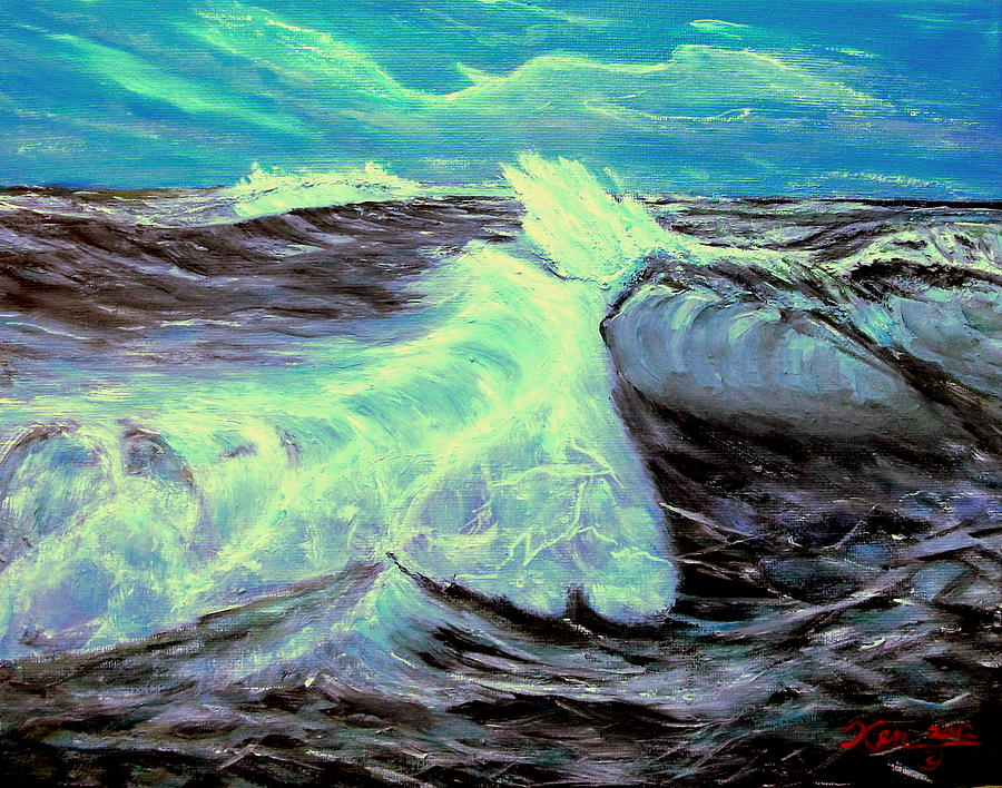 Ocean Waves Painting by Kenneth LePoidevin
