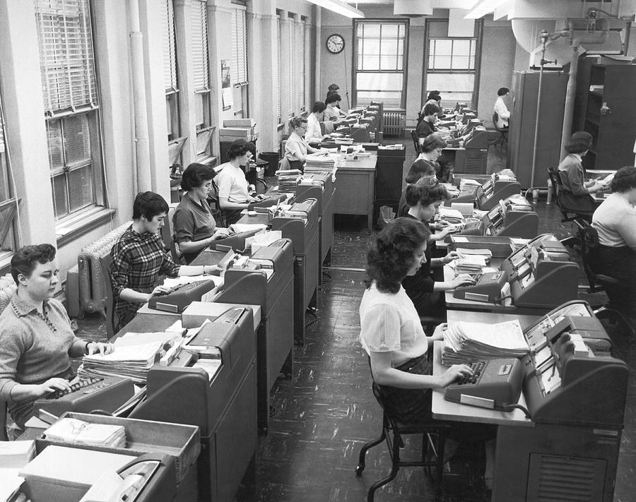 1950's Photograph - Office Workers Entering Data by Underwood Archives
