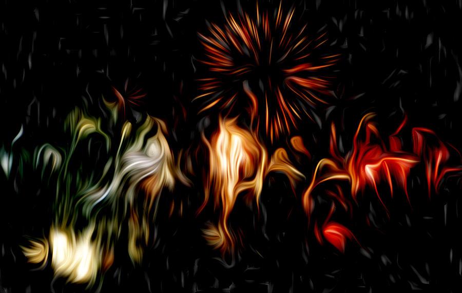 Sky Framed Prints Pyrography - Oil Fireworks by Stefan Petrovici