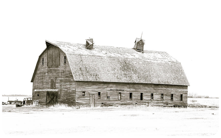 Aged Photograph - Old Barn by Gerald Murray Photography