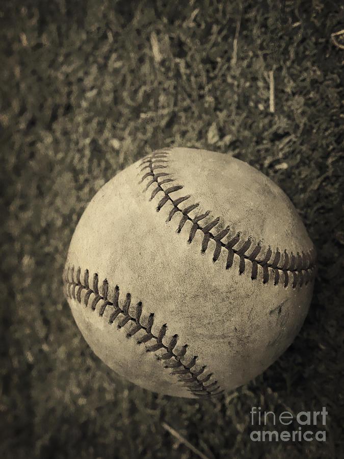 Memory Photograph - Old Baseball by Edward Fielding
