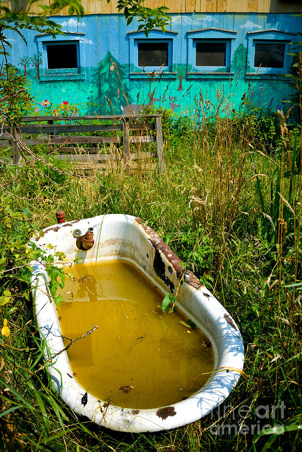 Abandoned Photograph - Old Bathtub Near Painted Barn by Amy Cicconi