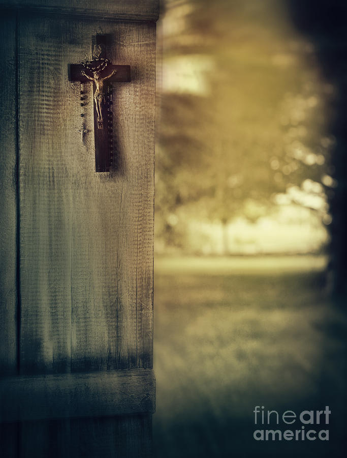 Atmosphere Photograph - Old Cross Of Window Shutter Door by Sandra Cunningham