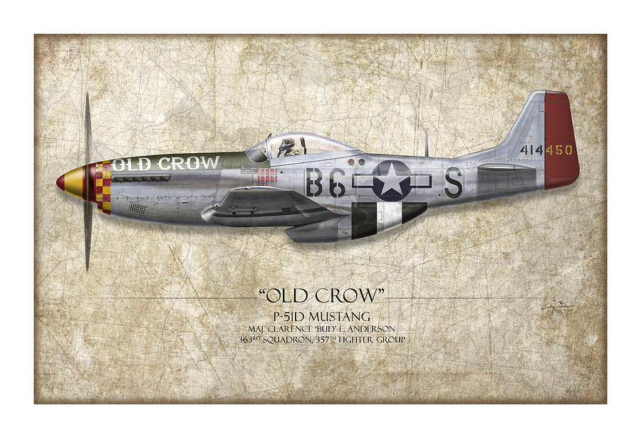 Aviation Painting - Old Crow P-51 Mustang - Map Background by Craig Tinder