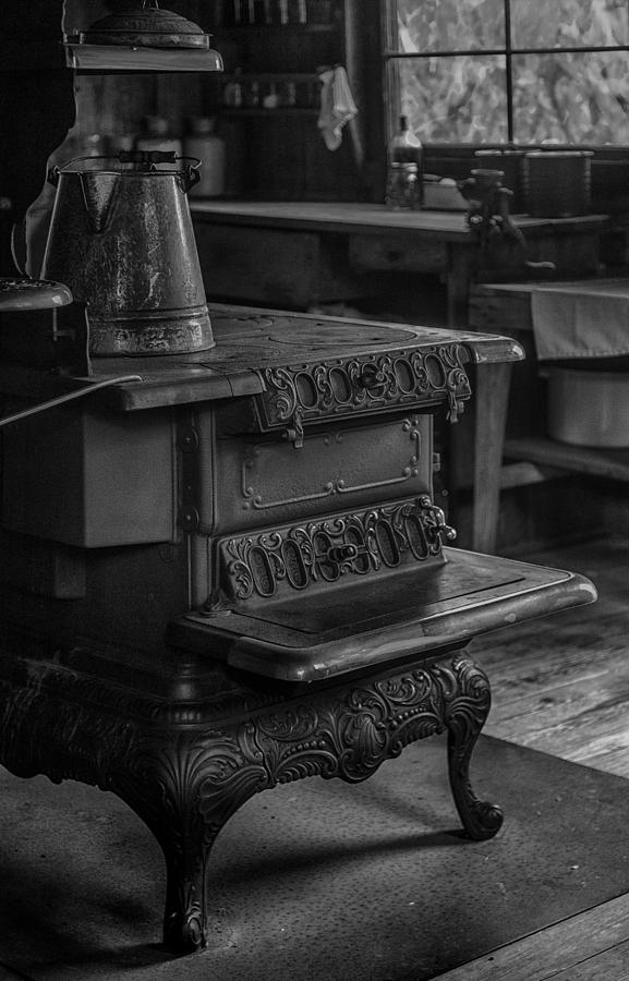 Pot Photograph - Old Farm Kitchen And Wood Burning Stove by Lynn Palmer
