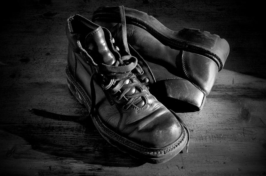 Old Photograph - Old Leather Shoes by Fabrizio Troiani