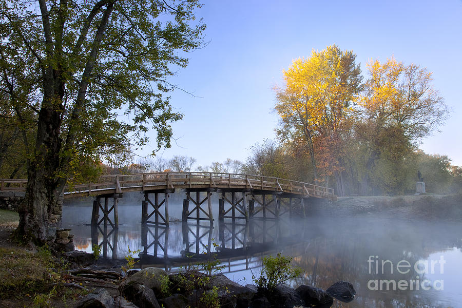 Autumn Photograph - Old North Bridge Concord by Brian Jannsen