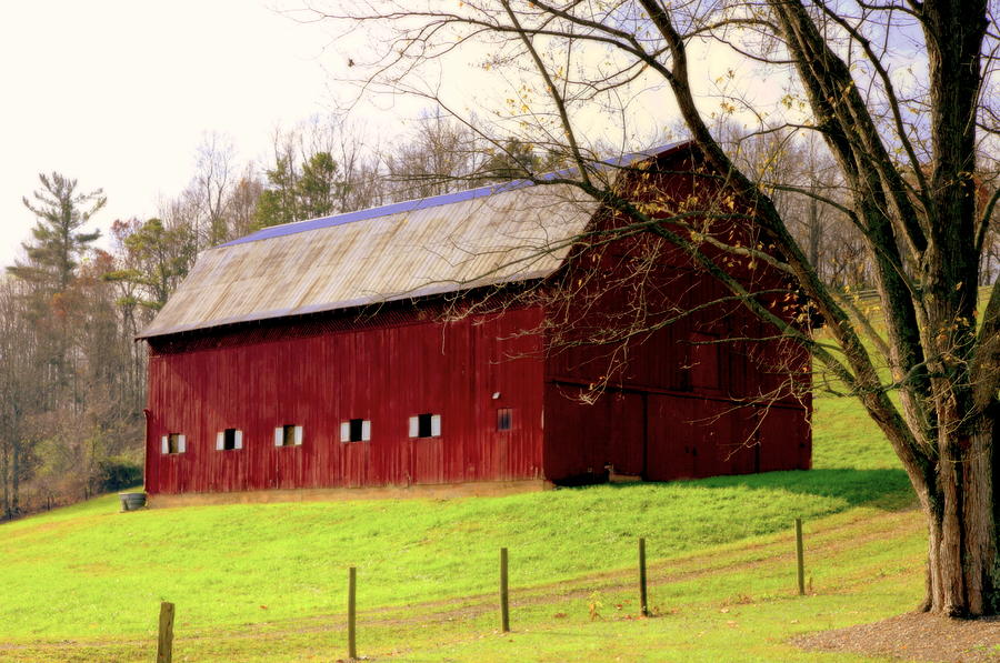 Red Barns Photograph - Old Red by Karen Wiles