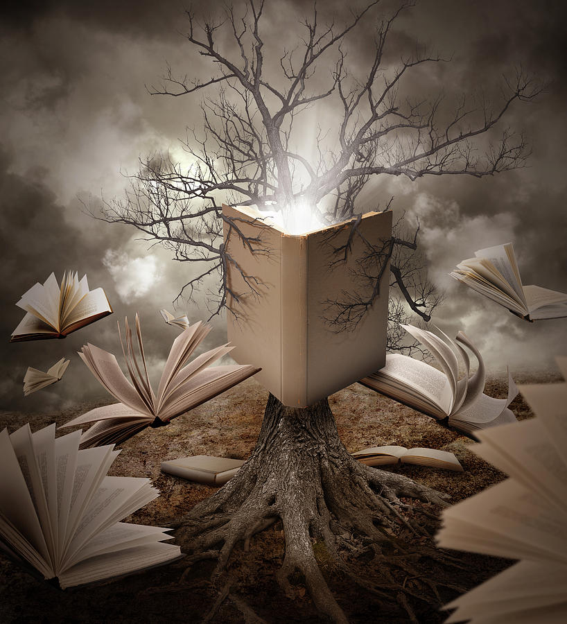 Concept Photograph - Old Tree Reading Story Book by Angela Waye