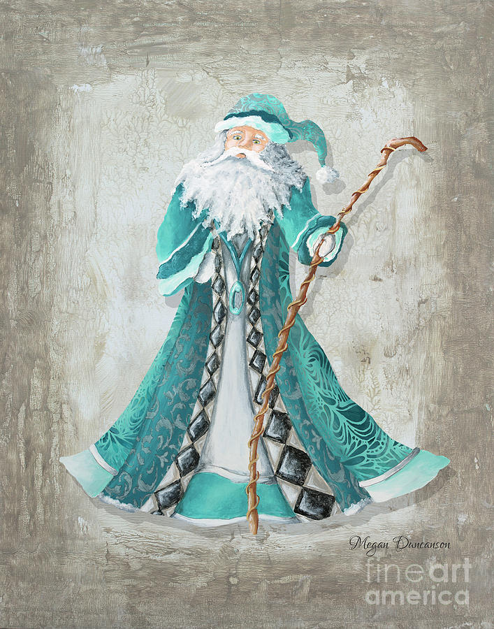 Old world style turquoise aqua teal santa claus christmas for Christmas images paintings