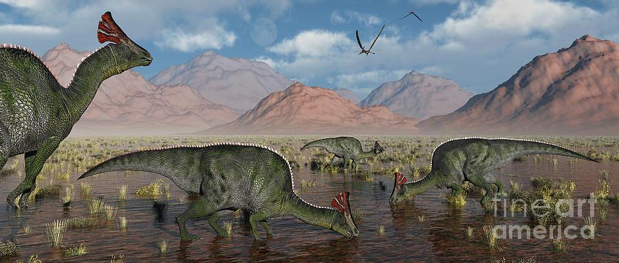 Olorotitan Duckbilled Dinosaurs Grazing Digital Art