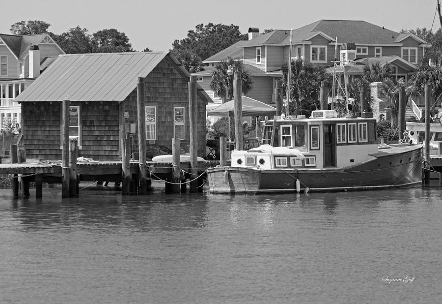Black And White Photograph - On Shem Creek by Suzanne Gaff