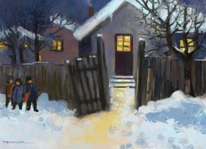 Winter Landscape Painting - Open Door To Carol by Tancau Emanuel