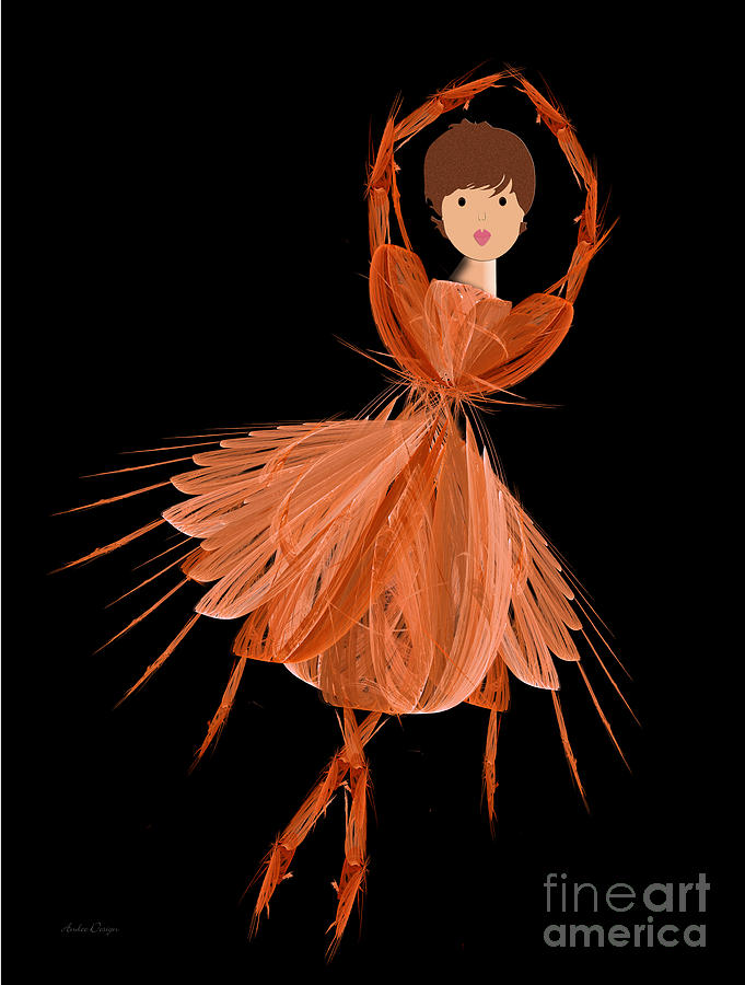 Ballerina Digital Art - 1 Orange Ballerina by Andee Design
