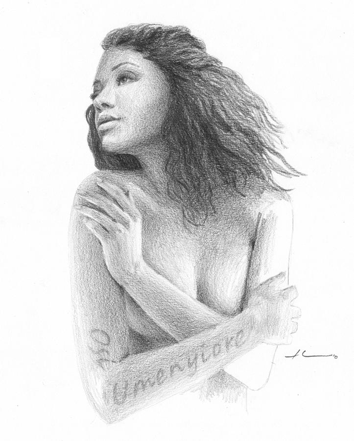 Osi Umenyiora Girlfriend Pencil Portrait Drawing by Mike Theuer
