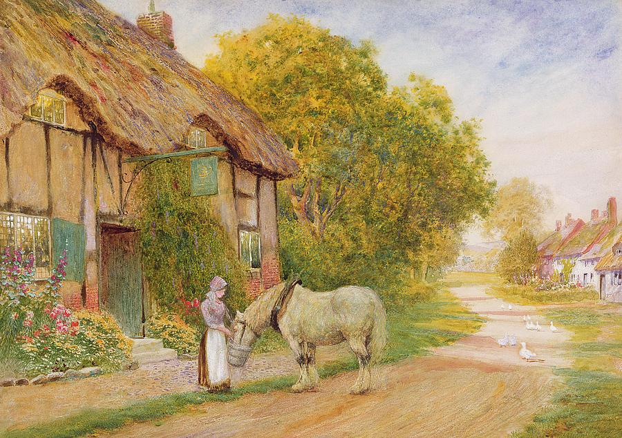 Country Painting - Outside The Village Inn by Arthur Claude Strachan