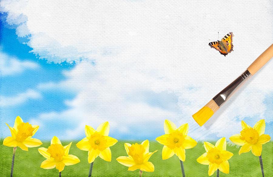 Daffodils Photograph - Painting Daffodils by Amanda Elwell