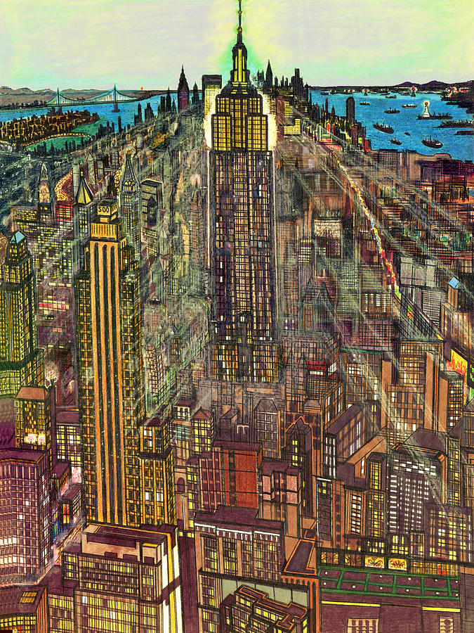 Empire State Building Painting - New York Mid Manhattan 1971 by Peter Potter