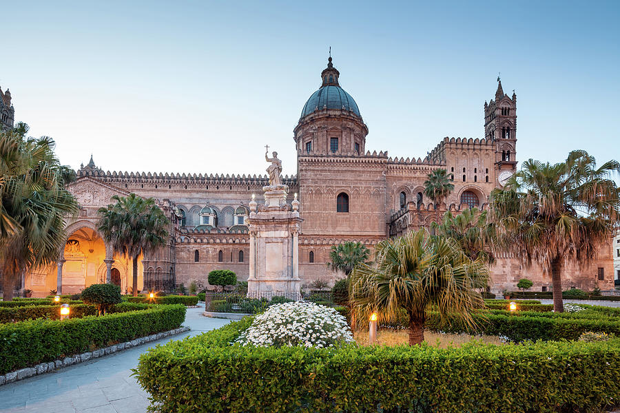 Palermo Cathedral At Dusk, Sicily Italy Photograph by Romaoslo