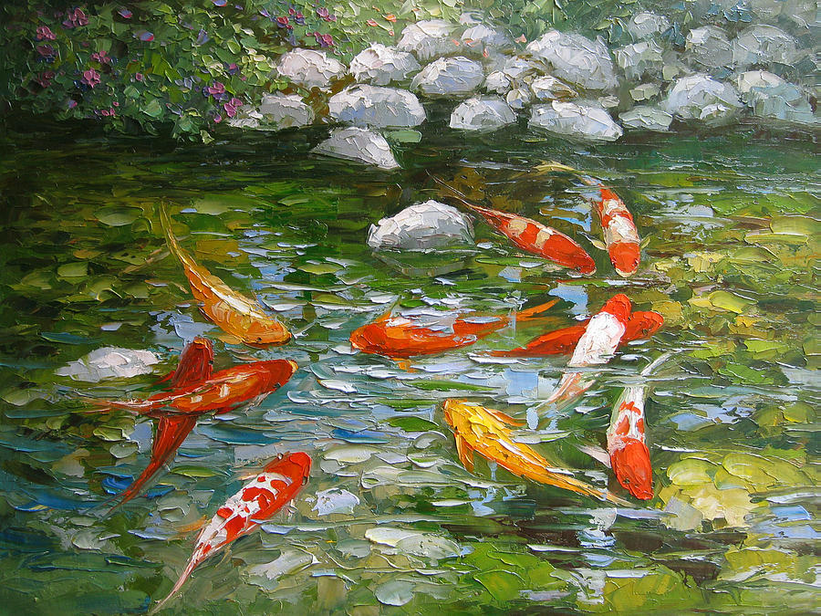 Palette knife oil painting koi fish painting by enxu zhou for Koi artwork on canvas