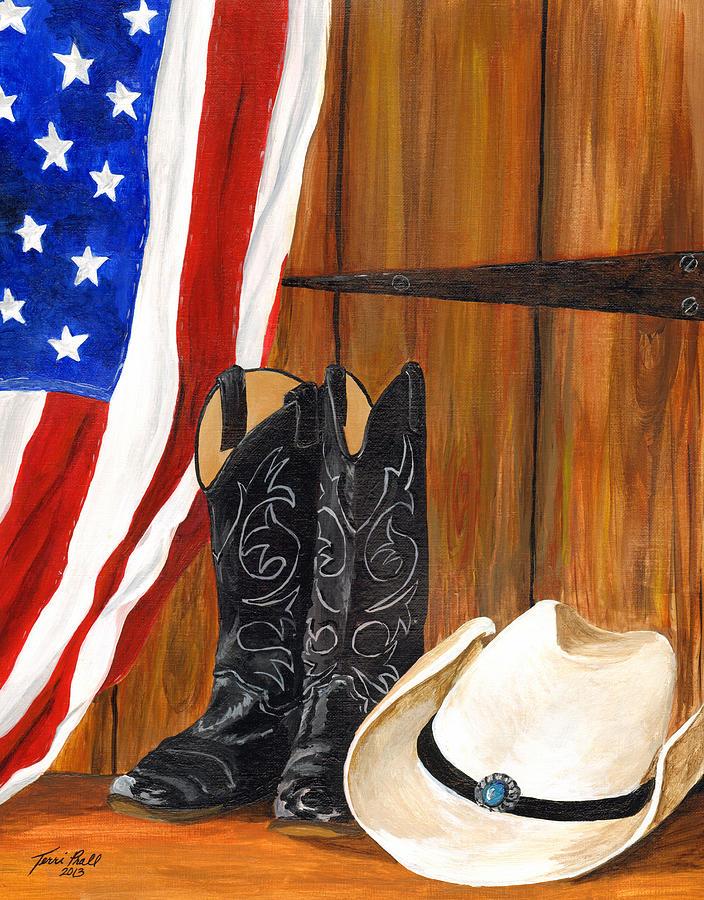 American Flag Painting - Parade Prep by Terri Prall