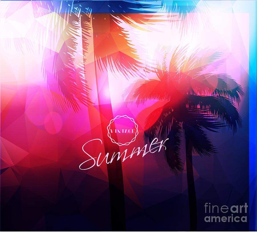 Sunrays Digital Art - Paradise Island-palm Tree Sunset by Alessandram