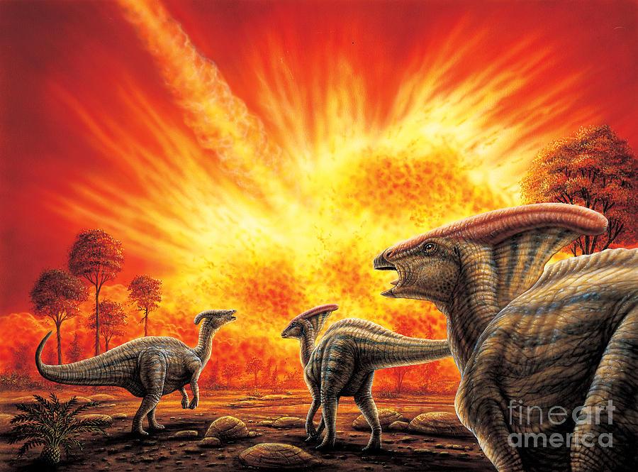 Asteroid Painting - Parasaurolophus Meteor Strike by Phil Wilson