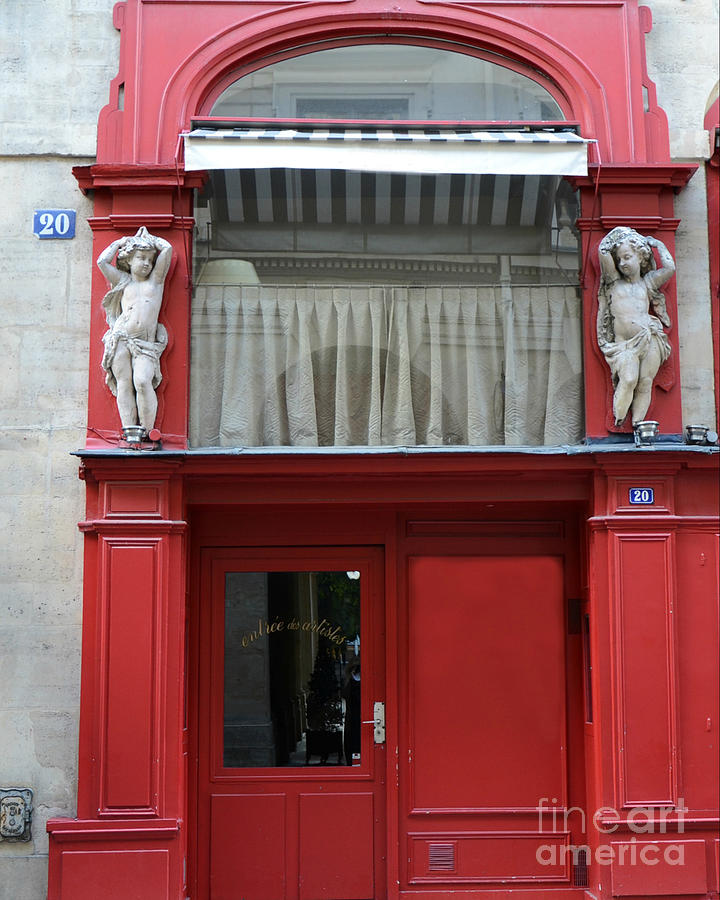 Paris Red Door Photography   Paris Red Cafe   Red And White Architecture  Art Nouveau Art Deco Photograph ...