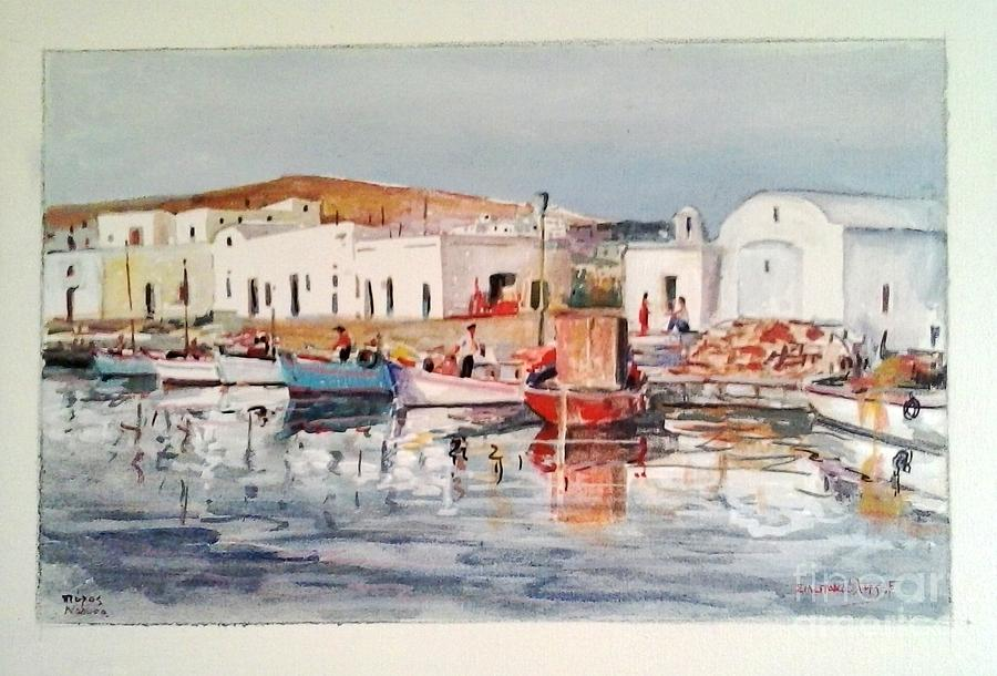 Paros-naousa Painting by George Siaba