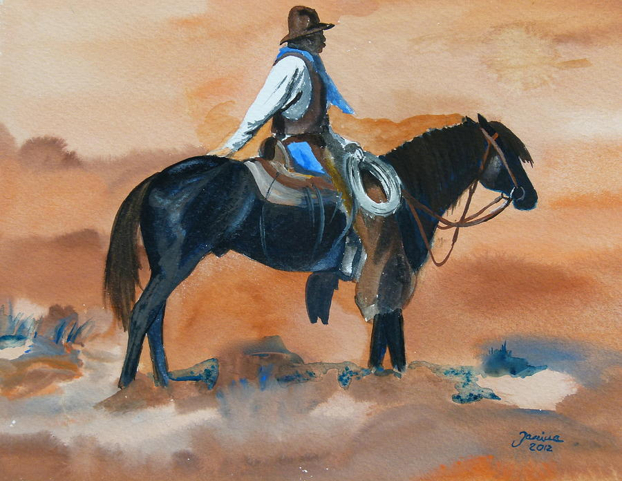 American Horse Painting - Paul On Watch by Janina  Suuronen