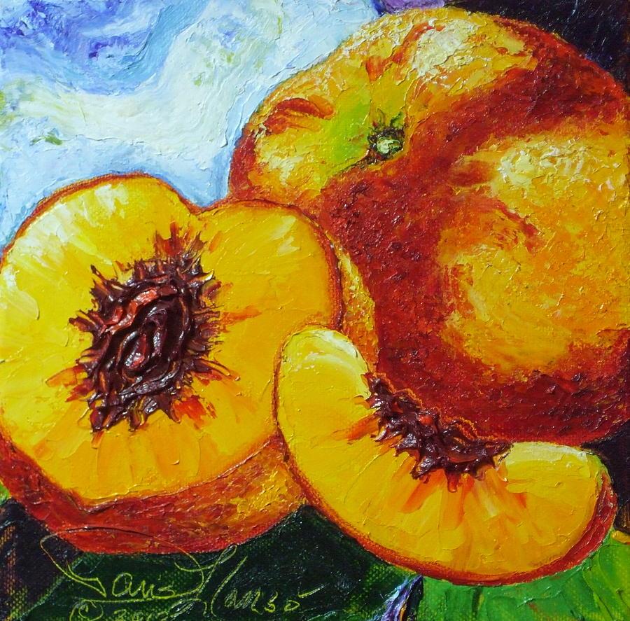 Peach Paintings Painting - Peaches by Paris Wyatt Llanso